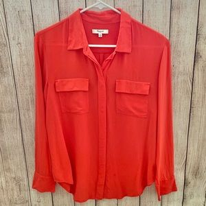 Madewell silk button up blouse M